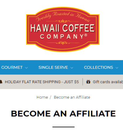 Screen shot of affiliate page for Hawaii Coffee Company used for review