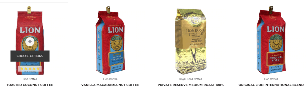 Hawaii Coffee Screenshot showing an example of their products