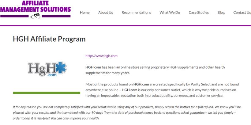 HGH.com affiliate program screenshot