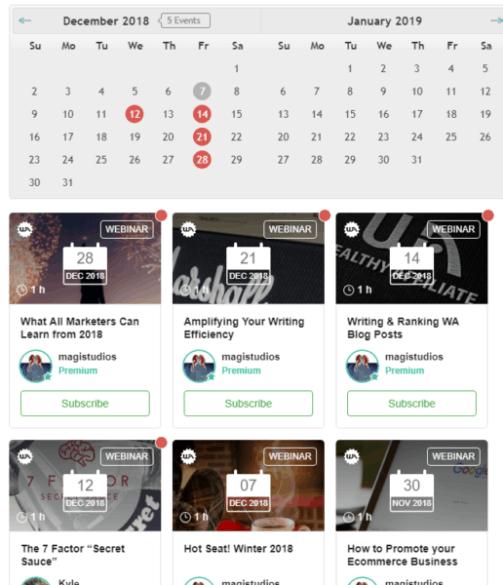 screenshot of webinars from wealthy affiliate