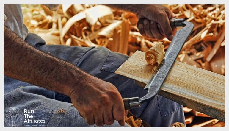 man wood working
