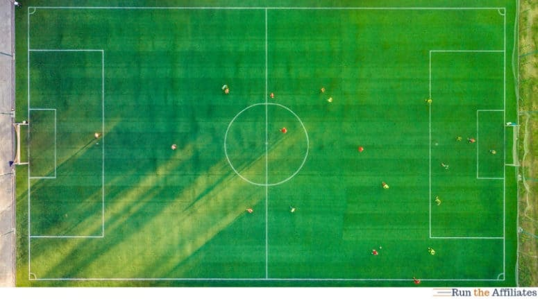 top down view of a soccer pitch