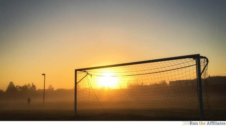 soccer goal at dawn