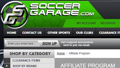 soccer garage affiliate program screenshot
