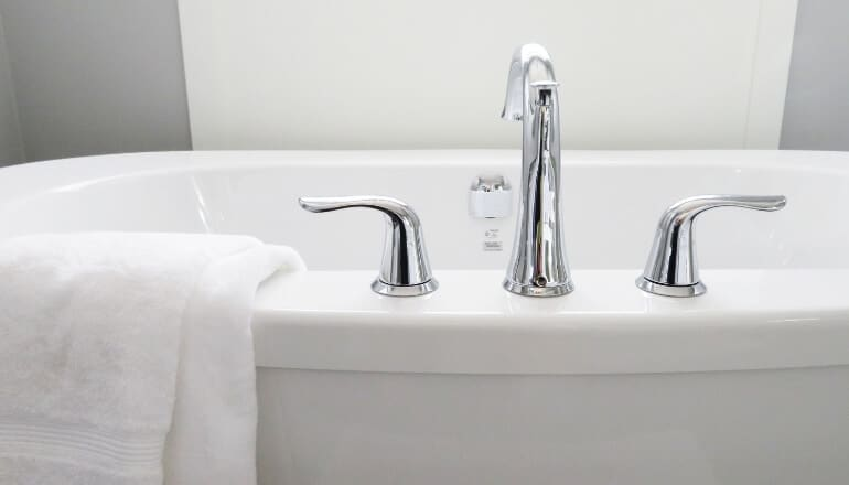 bathtub with towel