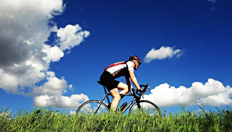 cycling through a field