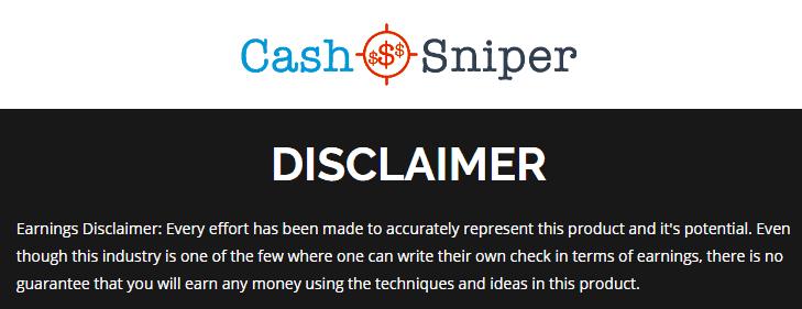 cash sniper disclaimer