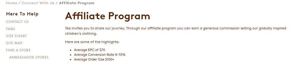 tea collection affiliate program