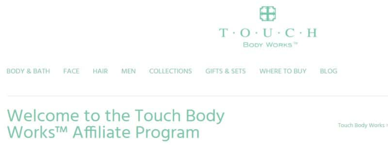 touch bodyworks affiliate program screenshot