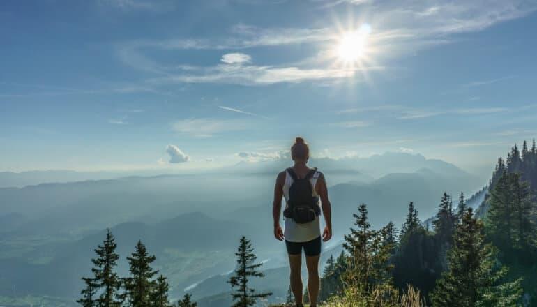 woman hiking on a mountain