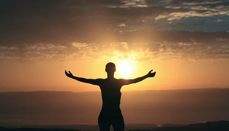 meditation at sunset