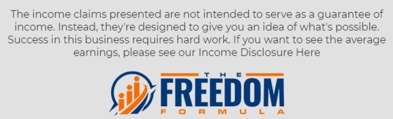freedom formula screenshot disclaimer