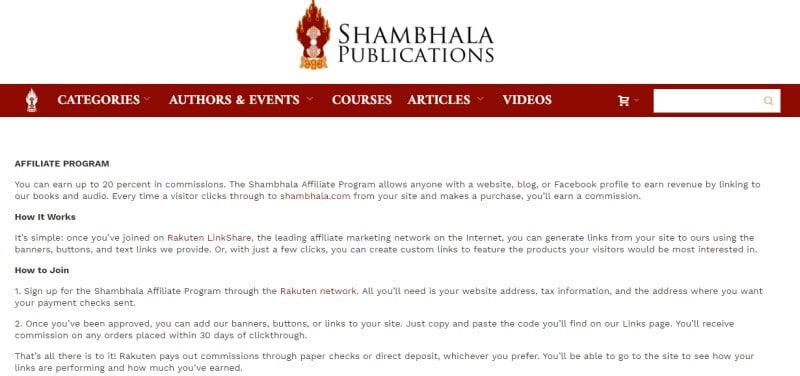 shambhala screenshot for affiliate program