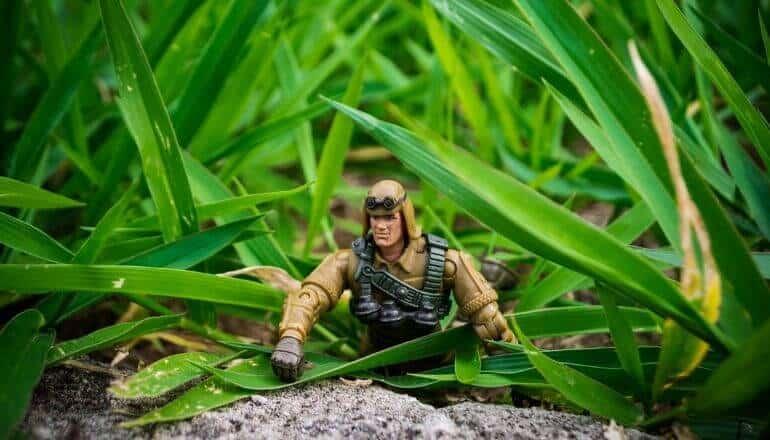 gi joe in the grass