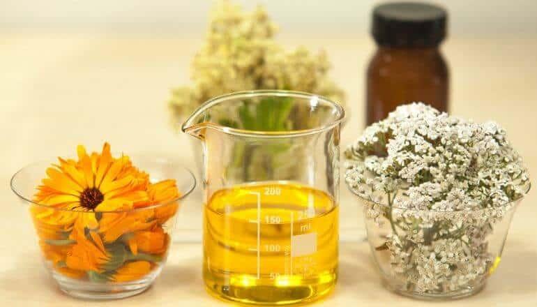 essential oil in a scientific beaker