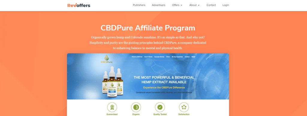 cbd pure affiliate program screenshot