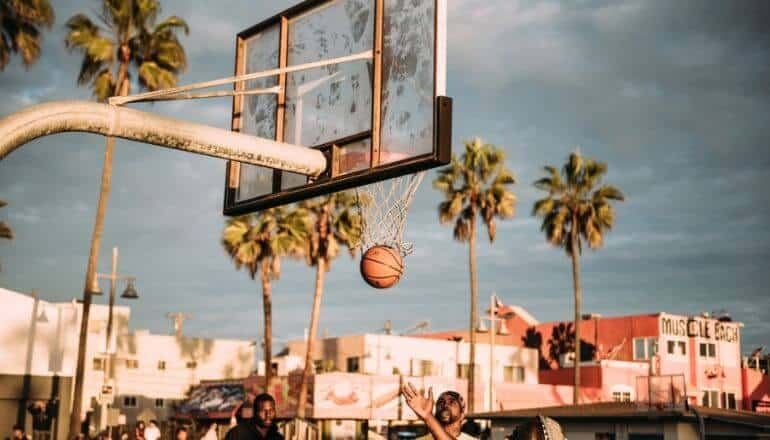 basketball game in city