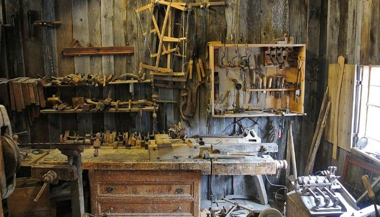 woodworking tools hanging on a wall