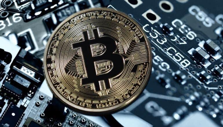 bitcoin on circuitboard