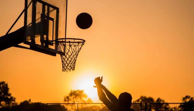 basketball at sunset