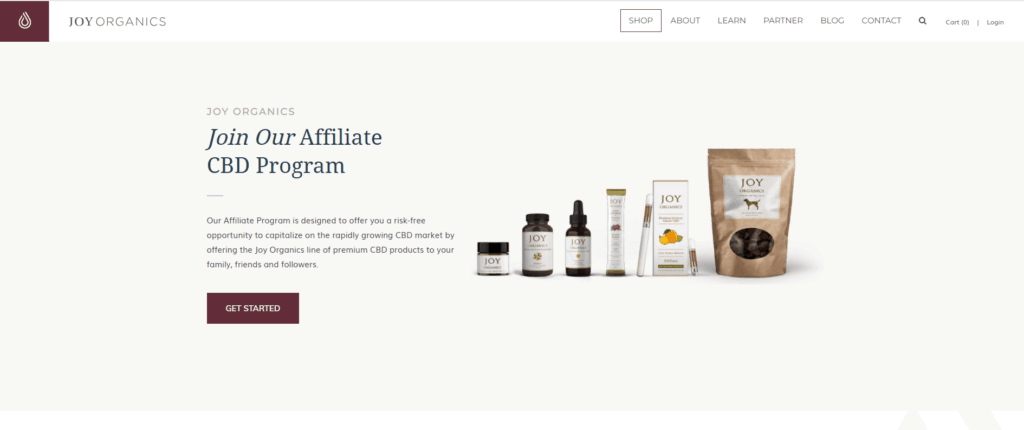 Joy Organics Affiliate Program Screen shot