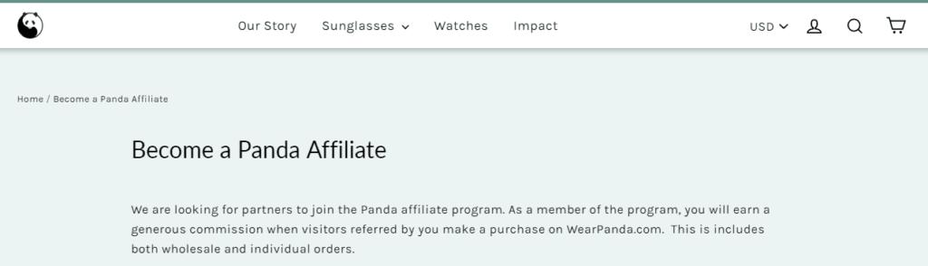 panda sunglasses affiliate screenshot