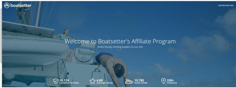 boatsetter affiliate screenshot