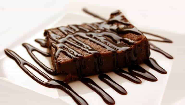 cake drizzled with chocolate
