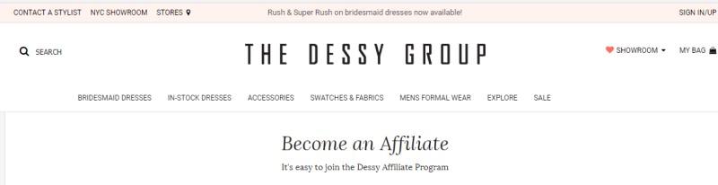 dessy affiliate screenshot