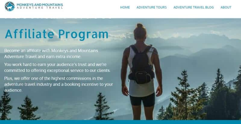 monkey and mountains affiliate screenshot