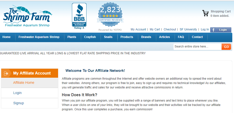 shrimp farm affiliate program screenshot