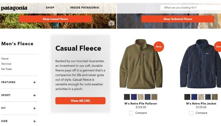patagonia product examples
