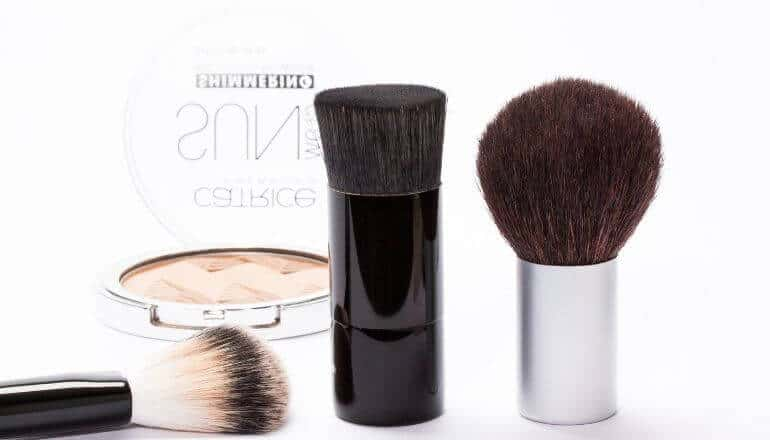 make up brushes on a table