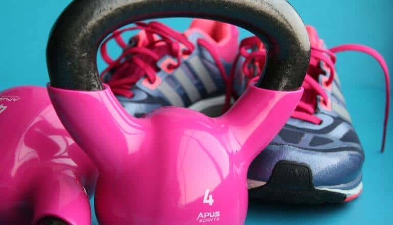 weights and shoes on the floor