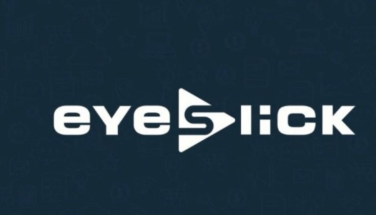 eyeslick text on a blue background