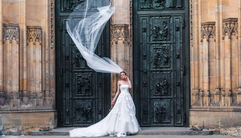 wedding dress blowing in wind