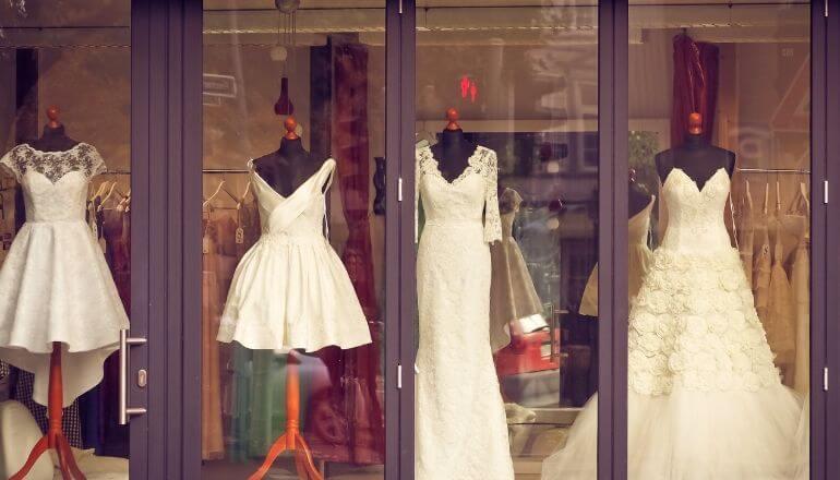 wedding dresses in storefront