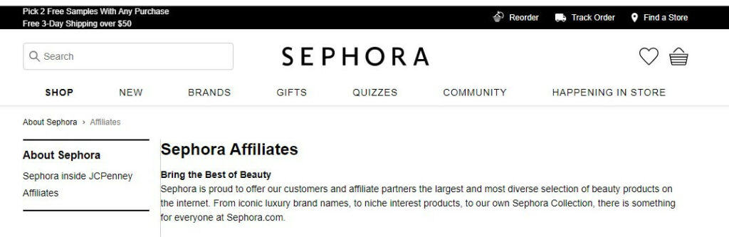 sephora affiliate screenshot