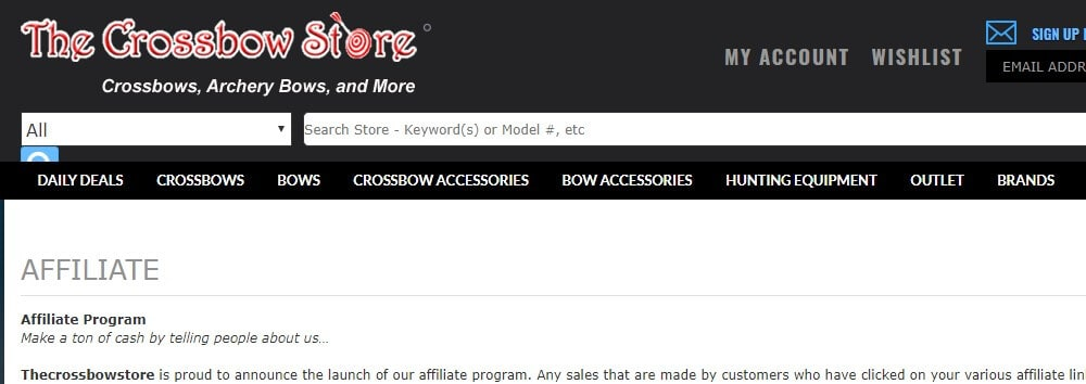 crossbow store affiliate program