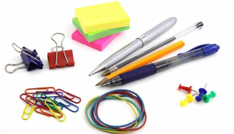 office supplies on white table