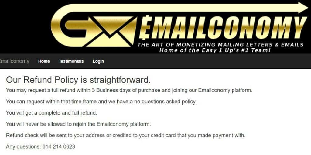 emailconomy refund screenshot