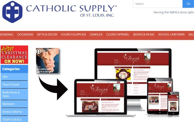 screenshot of the Catholic Supply Of St. Louis, Inc webssite