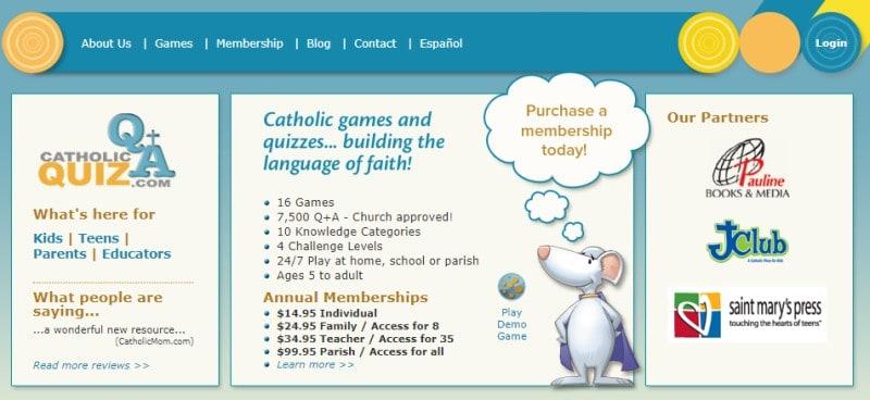 catholicquiz.com screenshot featuring a cartoon mouse in a cape