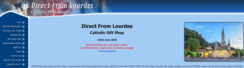 screenshot of the direct from lourdes light blue background with dark blue bordering it and a picture of a cathedral