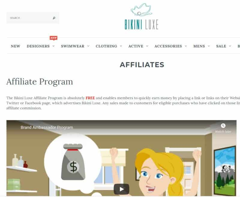 screenshot of the bikini luxe affiliate program website