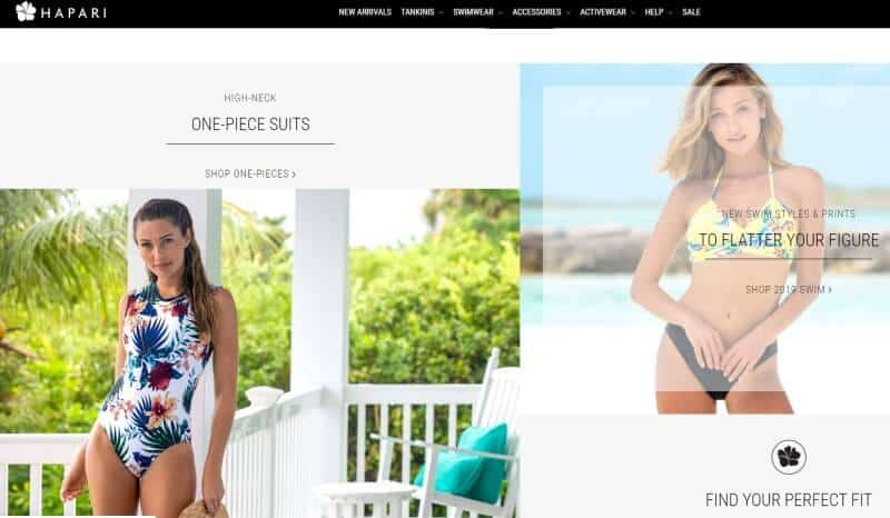 Screenshot of the Hapari website with 2 women modelling swimsuits