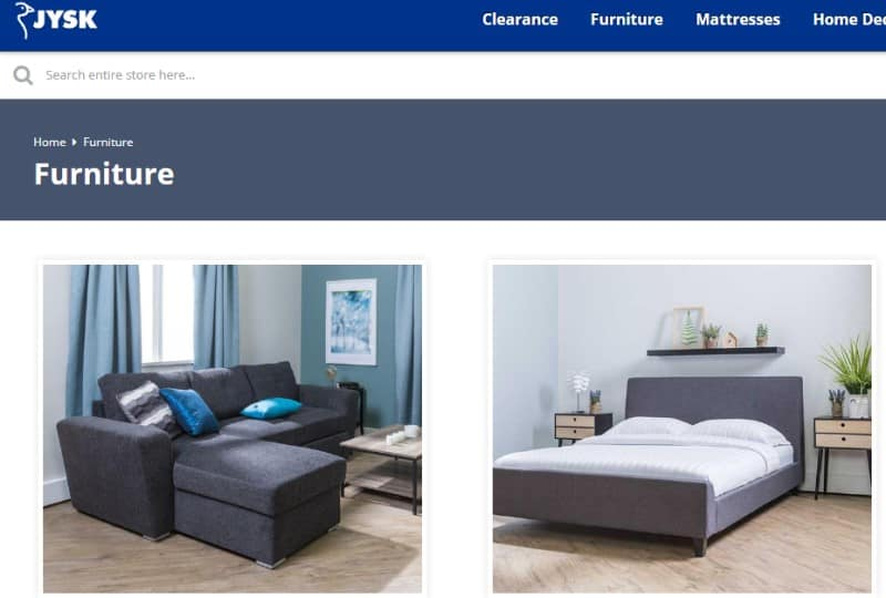 screenshot of the Jysk website featuring some of their furniture products