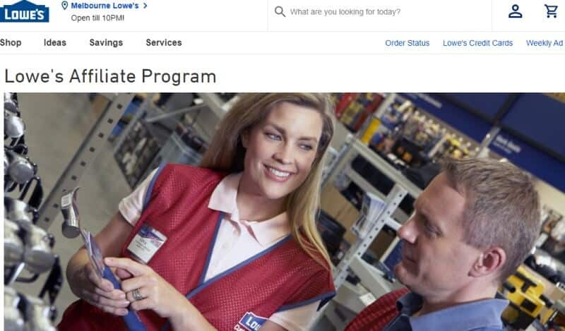 lowes affiliate program screenshot with woman explaining power tools to a customer