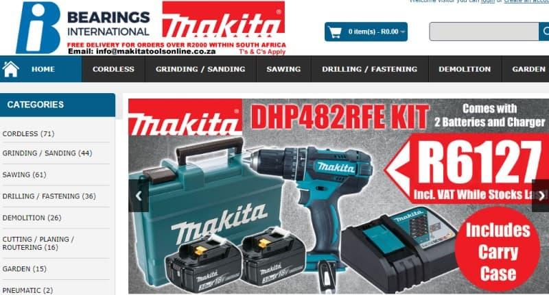 makita power tools website screeshot featuring makita products and sales