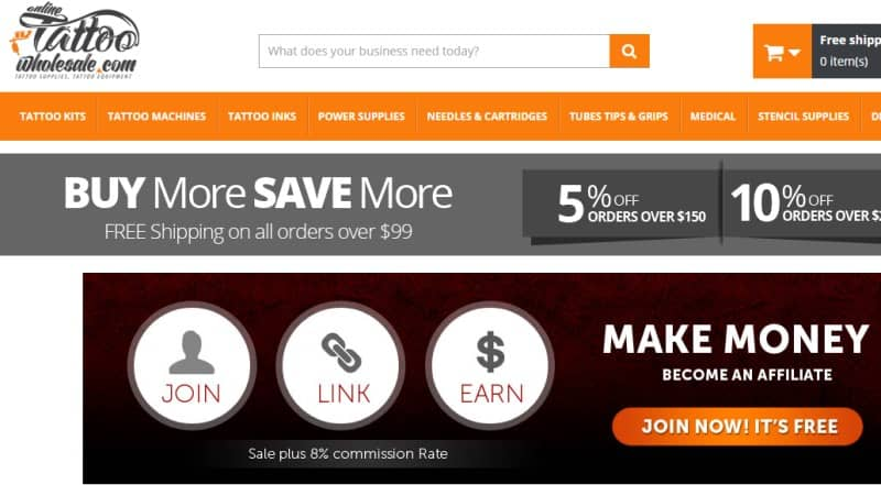 screenshot of the Online Tattoo Wholesale Affiliate Program webpage featuring information on their program